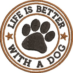 Better With A Dog embroidery design