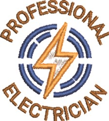 Professional Electrician embroidery design