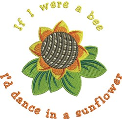 Sunflower Bee embroidery design