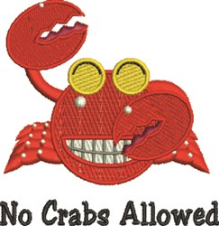 No Crabs Allowed embroidery design