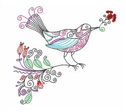 Floral Embellished Bird embroidery design