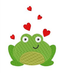 Frog & Hearts embroidery design