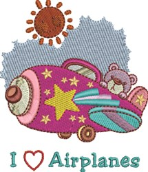 Airplane Love embroidery design
