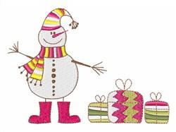 Snowman & Presents embroidery design