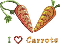 I Love Carrots embroidery design