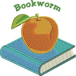 Bookworm embroidery design