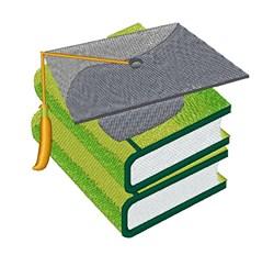 Graduation Cap & Books embroidery design