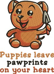 Puppies Leave Pawprints embroidery design
