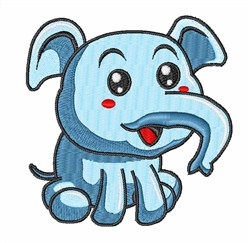 Blue Elephant Baby embroidery design