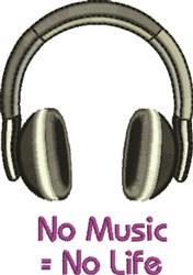 No Music embroidery design