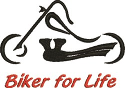 Abstract Biker For Life embroidery design