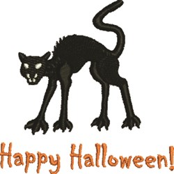 Halloween Black Cat embroidery design