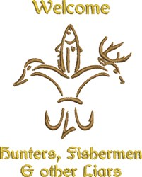 Hunting Fishing Tall Tales embroidery design