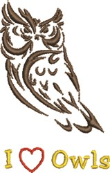I Love Owls embroidery design