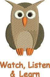 Owl Watch, Listen & Learn embroidery design