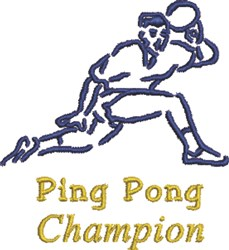 Ping Pong Champion embroidery design