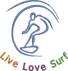 Live Love Surf embroidery design