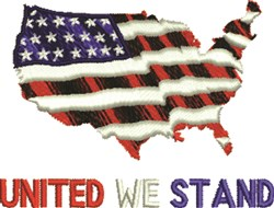 United We Stand Map embroidery design