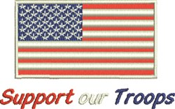 Support Our Troops Flag embroidery design