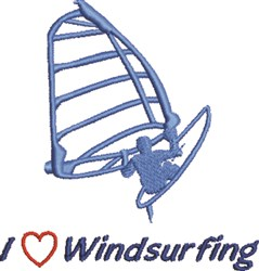 Love Windsurfing embroidery design