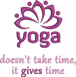 Yoga Gives Time embroidery design
