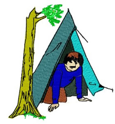 Boy in Tent embroidery design