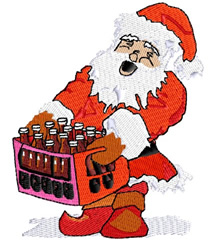 Santa with Sodas embroidery design