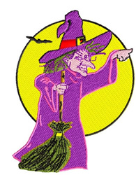 Witch with a Broomstick embroidery design