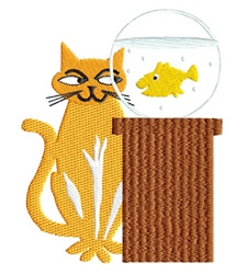 Cat with Goldfish embroidery design