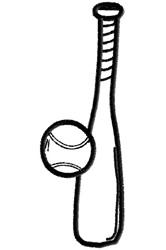 Baseball Bat and Ball embroidery design