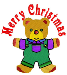 Merry Christmas Teddy embroidery design