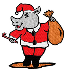 Santa Rhino embroidery design