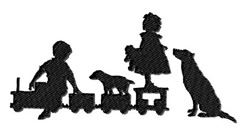 Kids and Dogs embroidery design