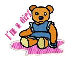 Im a Girl Teddy embroidery design