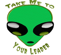 Take Me to Your Leader embroidery design