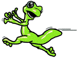 Running Gecko embroidery design