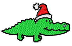 Santa Gator embroidery design
