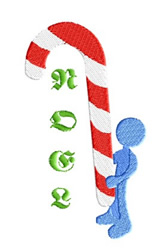 Noel Candy Cane embroidery design