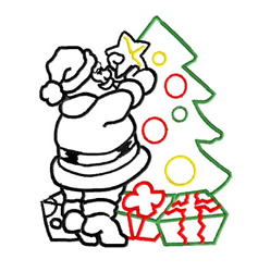Santa Decorating the Tree embroidery design