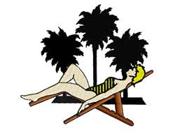 Sun Bathing embroidery design