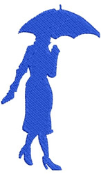 Lady with Umbrella embroidery design