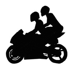 Two on a Motorbike embroidery design