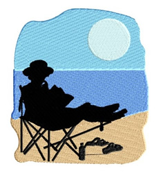 Lady on Beach Reading embroidery design
