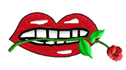 Mouth Holding Rose embroidery design