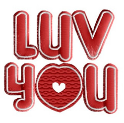Valentine Luv You embroidery design