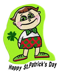 Boy with Clover Happy St. Patricks Day embroidery design