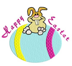 Bunny Happy Easter embroidery design