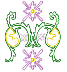Flowers Scroll embroidery design