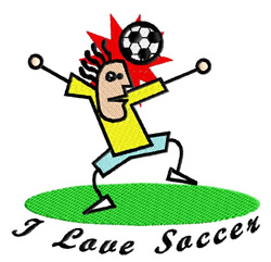 I Love Soccer Stick figure embroidery design