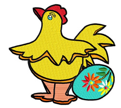 Chicken with Egg embroidery design